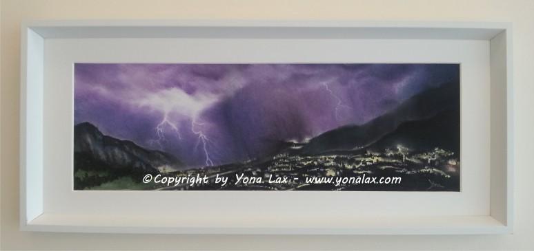 GEWITTER • 200€ • 58,5x19,5cm/72x31cm (Panorama nur mit Rahmen, Preis kompl.)
