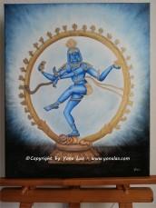 SHIVA • 300€ • 60x50cm (Acrylpaste, Aquarellstifte)